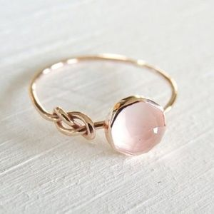 Jewelry - Pink Moonstone 18K RoseGold plated ring NWT